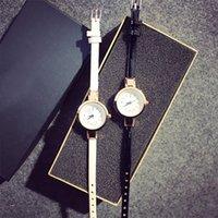 свадебные наручные часы оптовых-1 шт. роскошные розовое золото Кристалл Алмаз тонкий кожаный ремешок кварцевое свадебное платье часы Наручные часы для женщин дамы девушки
