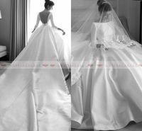 Wholesale long train beach wedding dresses for sale - Vintage Long Sleeves Satin Ball Gown Boho Wedding Dresses Elegant Button Low Back Beach Bridal Gowns Custom Made robe de mariee