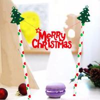 bandeira da decoração do aniversário venda por atacado-Atacado-1PCS Merry Christmas tema Pastelaria bandeira com papel palha Bolo Topper feliz ano novo para o natal decoração de natal suprimentos