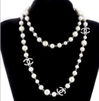 katman kolye tarzı toptan satış-Lüks stil 2 katmanlar kolye inciler kazak kolye tasarımcı ücretsiz bayan Parfüm numarası 5 kadın neckless uzun kolye collares