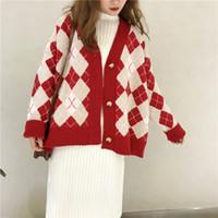ingrosso donne maglioni argyle-Kemixiaoxuan New Fashion Spring Knitted Sweater Donna Argyle Casual Cardigan allentati Maglieria femminile