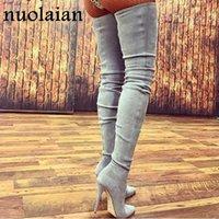 колена высокие сапоги оптовых-Дизайнер платье обувь 10.5 см каблуки женщины платье за колено зимние сапоги женщина искусственной замши загрузки женские бедра высокие сапоги дамы снегоступы
