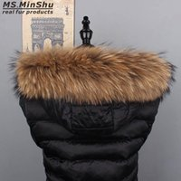 sudadera con capucha de piel de mapache al por mayor-Ms.MinShu cuello de piel de mapache con capucha de adorno de piel natural por encargo adorno de cuello de zorro para capucha de abrigo natural