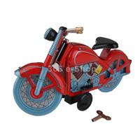 motosiklet kalay metal toptan satış-Yetişkin Koleksiyonu Retro Rüzgar up oyuncak Metal Teneke kırmızı motosiklet Mekanik oyuncak Clockwork oyuncak figürleri modeli çocu ...