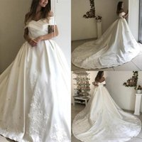 Wholesale mermaid wedding dress sheer shoulders resale online - 2019 New Fashion Wedding Dresses Off The Shoulder Sweep Train Satin Lace Mopping Long Wedding Gowns Bridal Dresses