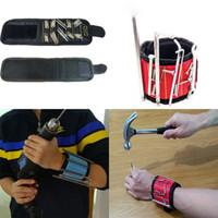 porte foret magnétique achat en gros de-Bracelet magnétique fort poche poignet soutien outil sac à main bracelet sac pochette sac vis magnétique titulaire de forage