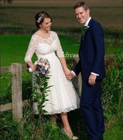 Wholesale tea length wedding dresses online - Charming Tea Length Wedding Dresses Jewel Backless Long Sleeve Lace Plus Size Short Garden Country Bridal Gowns robe de mariée