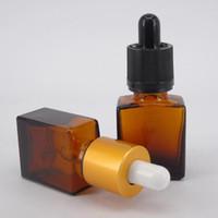 15ml kehribar rengi toptan satış-15 ml temizle amber cam damlalık şişe e sıvı kozmetik parfüm uçucu yağ cam şişe ile gümüş altın beyaz siyah pipet kap