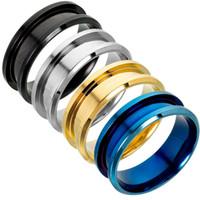 en iyi parmak takı toptan satış-Basit Çift Bant Halkalar Titanyum Çelik Alyans Kadın Erkek Hip Hop 8mm Parmak Yüzük Takı Yıldönümü Evlilik En Moda Hediye