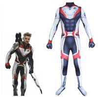 traje zentai maravilha venda por atacado-4 Endgame Quantum Realm Traje Cosplay Impressão 3D crianças Capitão Marvel Zentai Bodysuit Terno Macacões