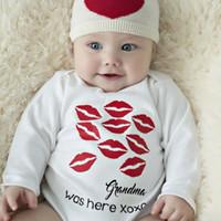 ingrosso nuovi vestiti del bambino di arrivo-Nuovo arrivo Baby Body Cotton neonato Baby Boy Girls Body manica lunga Red Bocca Kiss Abiti Outfit