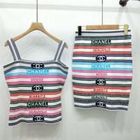 yaz örgüleri toptan satış-Kadınlar Marka 2 Parça Elbise Yaz Acısını Kemer Kolsuz Gömlek + Etekler 2 Parça Setleri Renk Şerit Hatları Jakarlı Örgü Kaşkorse Yarım Etek