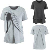 amerika kadın giyim toptan satış-Avrupa Amerika Analık Hamile Kadın giyim Katı Anneler Tops T gömlek Kısa kollu Pamuk Hemşirelik giyim Gri 2019 Yaz