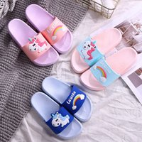 Wholesale sandals kids boy for sale - Group buy Cartoon Unicorn Printed Kids Indoor Slippers Toddler sandals Summer Boys Girls Home Flip Flops Children Bathroom Shoes Beach Slipper D62306