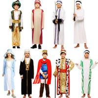 hint halloween kostümleri toptan satış-Çocuk Cosplay Prens Kostüm Cadılar Bayramı Hac Masquerade Aladdin Suudi Hint Işıkları Erkek Set Arap Parti Drama Suit