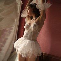 camisolas de gaze branca venda por atacado-Casamento noite vestido de chiffon doce sonho lingerie sexy babydoll camisola gaze branca transparente dormindo baby doll lingerie y19070402