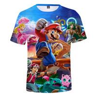 diseño gráfico clásico al por mayor-Super Mario T shirts Hombres Chicos Cool Graphic camiseta 3D de manga corta Diseño clásico Tops Tees Plus Size 5XL