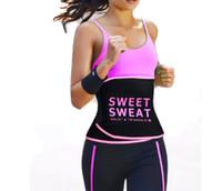 cinturón de fitness para mujeres al por mayor-Unisex Hombres Mujeres Fitness Ajustable Dulce Sudor Cintura Trimmer Cintura Fajas Cintura Adelgazar Cinturón Gimnasio Cinturón- Rosa Negro Amarillo