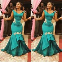 Wholesale vintage pageant wear resale online - Stunning Classic African Mermaid Evening Dress Formal Gowns Satin with Appliques Ruched Long Cheap Prom Pageant Dress