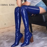 Extra Ladies Thigh Temperament High 2019 Boots Thick Legs Crystal Over Women Heels Catwalk Shoes Long Stretch Knee H9EDI2