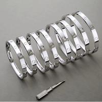 ingrosso braccialetto uomo d'argento design-Bracciale rigido in acciaio inossidabile 316L con bracciale rigido a vite con cacciavite, gioielli in argento oro rosa di design, gioielli da donna, bracciali da donna