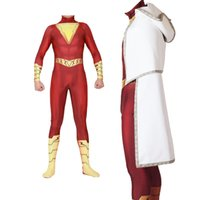 Wholesale cosplay dc comics online - Halloween Popular Movies DC Comics Gold Thunder Shazan with Cloak and Cloak Cosplay Siamese Tights Cosplay Costume
