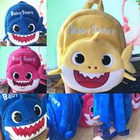 sacos de cor amarela venda por atacado-2019 Novo Dos Desenhos Animados Do Bebê Tubarão Escola Saco para Crianças Dos Miúdos Bonito Escola De Pelúcia Mochila Tubarão Bebê Rosa Azul Cor Amarela Meninos Mochila C31
