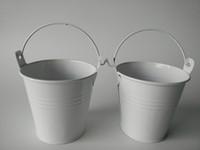 mini-vasos de flores de lata venda por atacado-D7.5 * H7.5CM Mini Balde Branco baldes potes de lata vaso de Flores Do Chuveiro de Bebê Favor de partido plantador de Suculentas Favor do Casamento titular