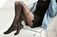 leggings pretos do estilo venda por atacado-Estilo quente primavera outono inverno collants das mulheres preto sexy carta padrão de seda meias leggings collants das mulheres