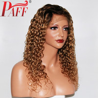 Wholesale human hair curly ombre wigs for sale - Group buy PAFF x4 Ombre Curly Human Hair Wig With Baby Hair Pre Plucked Lace Front Wigs Remy Brazilian Wigs Glueless With Two Tone Color