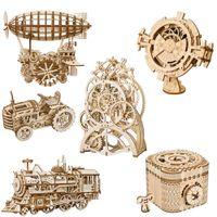 conjunto de engranajes al por mayor-Juego de los niños del rompecabezas 3D de madera mecánica con transmisión de engranajes Modelo de la Asamblea Modelo Juguetes Juguetes de construcción Niños Adolescentes Adultos juguete de regalo 07