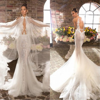 Wholesale winter backless mermaid lace wedding dresses for sale - Group buy 2020 New Elihav Mermaid Wedding Dresses With Wrap Lace Appliqued Sheer Neck Bohemian Wedding Dress Illusion Backless Boho Bridal Gowns