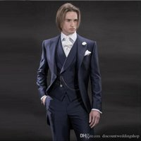 mens morning suits 2021 - Handsome Morning Style Man Work Business Suit Wedding Party Groom Tailcoat Mens Prom Suits (Jacket+Pants+Vest+Tie) J269