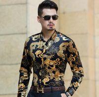 dragão de manga longa t venda por atacado-Homens de alta qualidade camiseta manga longa cadeia de impressão do dragão chinês