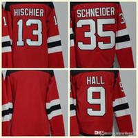 venda de camisas de hóquei em branco venda por atacado-2018 Mens New Jersey Devils 9 Taylor Salão 13 Nico Hischier 30 Martin Brodeur 35 Schneider branco em branco Red Hockey Jerseys Hot Sale