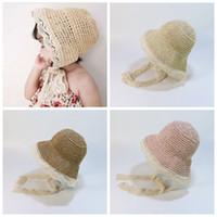 bebek kızları için hasır şapkalar toptan satış-Çocuk Balıkçı Şapka Yaz Dantel Kravat Güneşlik Kap Bebek Kız Güneş Kremi Plaj Şapka Parti Hasır Şapka Cimri Ağız Şapka CCA11792 10 adet