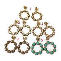 ingrosso gioielli in pietra semi-Ciondoli vintage fiore splendido, goccia d'acqua semi preziosa pietra fascino moda stile bohemien orecchini per gioielli donna ER277