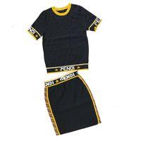 ingrosso nuovi modelli di maglieria-Modelli Explosion 2019 Summer New Colour Collar Girocollo Pullover Knit manica corta + mezza gonna Fashion Knit Suit Donna TAGLIA S-L