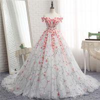 machen chinesisches kleid großhandel-Benutzerdefinierte Brautkleider Pink Flowery Brides Gown Elegante High Class Long Train Brautkleider Chinese Factory Man Made