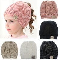 Wholesale kid beanie hat crochet for sale - Group buy Baby Knit Cap Kid Crochet Beanies Hat Girl Pony Tail Caps Warm MOK Stretchy Caps Colors Children Woolen Knitted Hats Casual Headgear M313