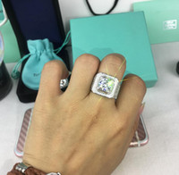 Wholesale brilliant diamonds resale online - 925 Silver Diamond Brilliant Luxury Large Edition Honeycomb Low Men Zircon Wide Edition Men s Diamond Ring