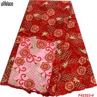 rot gesticktes spitzengewebe großhandel-Nigeria Red Lace Fabrics Neueste Bestickte Net Schnürsenkel Stoff Hohe Qualität Tüll Französisch Spitze Stoff Für Party F4-2323