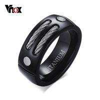 ingrosso anelli in titanio unici-VNOX elegante nero 100% al titanio anello Uomini 8MM unici anelli di sesso maschile con Huia WIA design