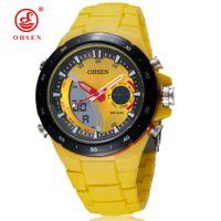 ohsen relógio amarelo venda por atacado-Atacado OHSEN Marca Moda Digital Quartz Men relógio de pulso Silicone Strap Amarelo Dial impermeáveis Presentes exterior Desporto Relógios