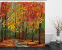 ingrosso boschi di campagna-Forest North Woods Falling Leaves Autunno Park Road Autumn Leaves Paese Home Decor Colori stagionali Percorso romantico