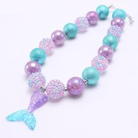 Wholesale chunky necklaces girls bubblegum for sale - Group buy Princess Girl Kid Chunky Necklace Purple Blue Color Cartoon Mermaid Tail Pendant Bubblegum Chunky Beads Necklace Girl Children Jewelry