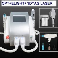 maquina laser para pigmento al por mayor-3 en 1 portátil Q Switched nd yag láser eliminación de tatuajes IPL SHR depilación depilación láser máquina de eliminación