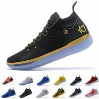 free shipping db243 33779 kd weißes gold schwarz großhandel-2019 Kd 11 Mens Basketball Sneakers Schwarz  Weiß Eybl Noch