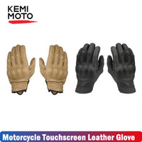 Wholesale leather motocross gloves resale online - KEMiMOTO Touchscreen Leather Motorcycle Gloves Full Finger Summer Men Cycling Moto Motorbike Protective Gears Motocross Glove