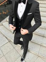 karakalem gri erkekler için uygun toptan satış-Kömür Gri Damat Smokin Tepe Yaka Erkek Düğün Smokin Adam Ceket Blazer Popüler 3 Parça Suit (Ceket + Pantolon + Yelek + Kravat) 279